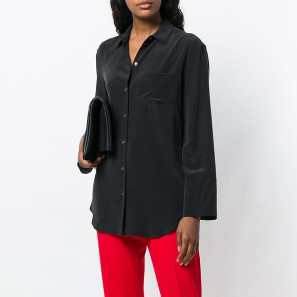 fc704cc0627746 EQUIPMENT Coco Silk Shirt BLACK Bell Sleeve Blouse